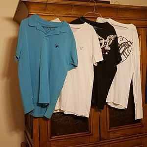One long sleeved and 3 short sleeved shirts